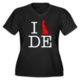 I Love DE Delaware Women's Plus Size V-Neck Dark T