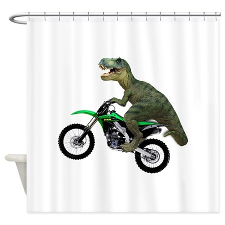 Dirt bike wheelie t rex shower curtain by scooterbaby for 70 bike decoration
