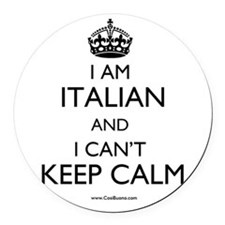 I AM ITALIAN AND I CAN'T KEEP CALM Round Car Magne