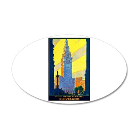 Cleveland Travel Poster 2 35x21 Oval Wall Decal