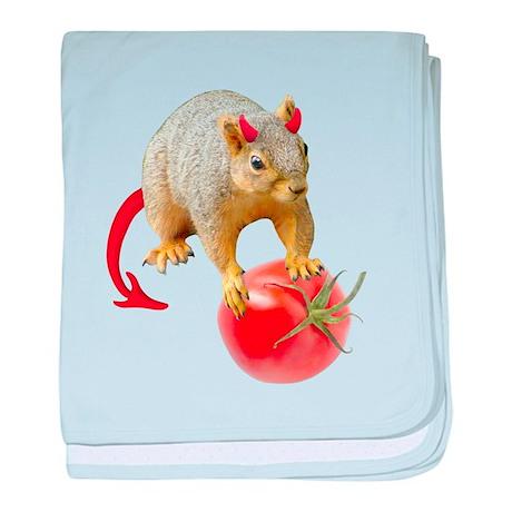 Devil Squirrel Stealing Tomato baby blanket