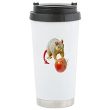 Devil Squirrel Stealing Tomato Ceramic Travel Mug