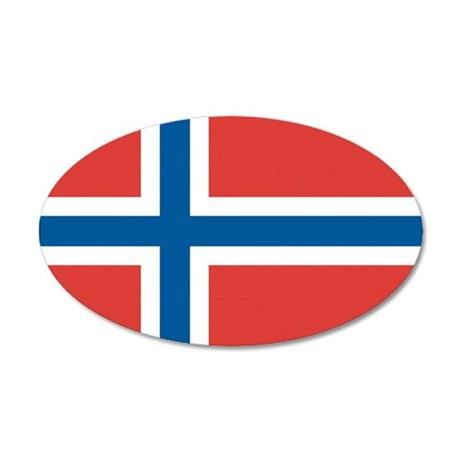 Norwegian Flag 20x12 Oval Wall Decal
