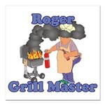 Grill Master Roger Square Car Magnet 3