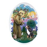 St Francis (ff) - Bernese Mt. Dog Ornament (Oval)