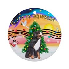 XmasMusic2C /Bernese Mt Dog Ornament (Round)