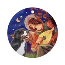 Mandolin Angel & Bernese Mt Dog Ornament (Round)