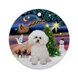 Xmas Magic with a Bichon Frise Ornament (Round)