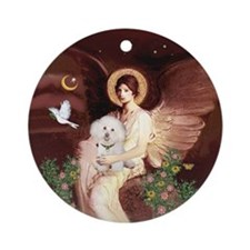 Seated Angel/Bichon Ornament (Round)
