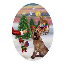 Santa's Treat for his Bloodhound Oval Ornament