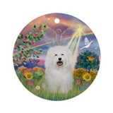 Cloud Angel & Bolognese Ornament (Round)