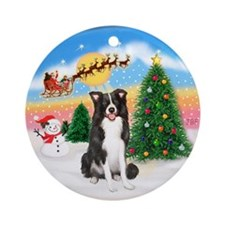 TakeOff1W/ Border Collie Ornament (Round)