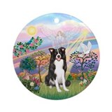 CloudAngel2/Border Collie Angel Ornament (Round)