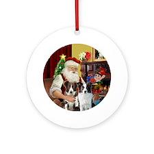 Santa's 2 Border Collie Ornament (Round)