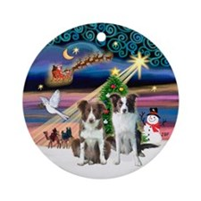 Xmas Magic - 2 Border Collies Ornament (Round)