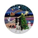 Xmas Magic Border Collie Ornament (Round)