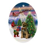Santa's Take Off &amp; Border Terrier Oval Ornament