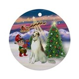 Santa's Take Off & Borzoi Ornament (Round)