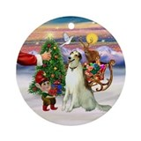 Santa's Treat for his Borzoi Ornament (Round)
