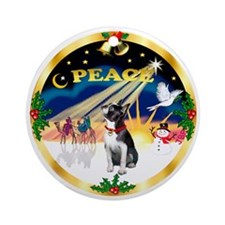 XmasSunrise / Boston Terrier Ornament (Round)