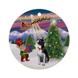 Santa's Take off with a Boston Ornament (Round)