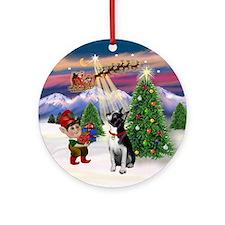 Santa's Take off with a Boston Ornament (Round)