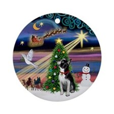 Xmas Magic Boston Terrier Ornament (Round)