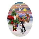 Santa's Boston Terrier Treat Oval Ornament