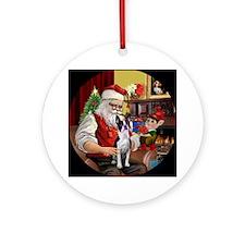 Santa's Boston Terrier Ornament (Round)