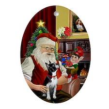 Santa & his Boston Terrier Oval Ornament