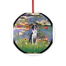 Monet's Lilies & Boston Terrier Ornament (Round)