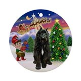 Santa's Take Off &amp; Bouvier Ornament (Round)