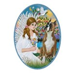 Angel Loving a Boxer Ornament (Oval)
