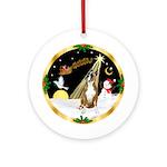 Santa's Night Flight & Boxer Ornament (Round)