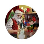 Santa's Boxer Ornament (Round)