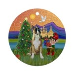 Boxer Christmas Fantasy Ornament (Round)