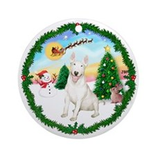 Santa's TakeOff1 & Bull Terrier Ornament (Roun