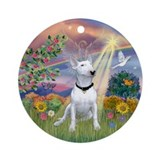 Cloud Angel & Bull Terrier Ornament (Round)
