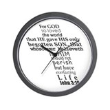 John 3:16 KJV Dark Gray Print Wall Clock