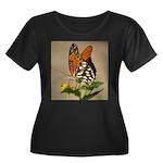Butterfly Women's Plus Size Scoop Neck Dark T-Shir