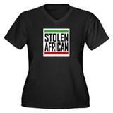 Stolen African Women's Plus Size V-Neck Dark T-Shi