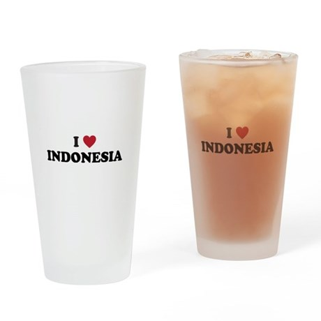 I Love Indonesia Drinking Glass