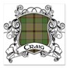 "Craig Tartan Shield Square Car Magnet 3"" x 3"""