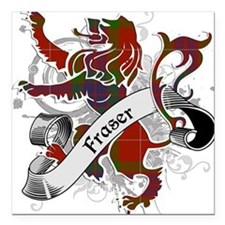 "Fraser Tartan Lion Square Car Magnet 3"" x 3"""