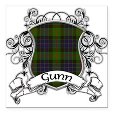 "Gunn Tartan Shield Square Car Magnet 3"" x 3"""