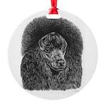 Black poodle Round Ornament
