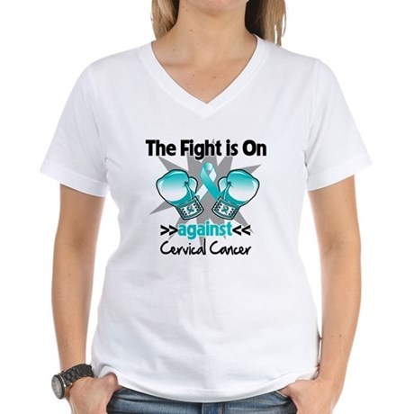 Fight On Cervical Cancer Women's V-Neck T-Shirt