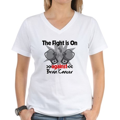 The Fight is on Brain Cancer Women's V-Neck T-Shir