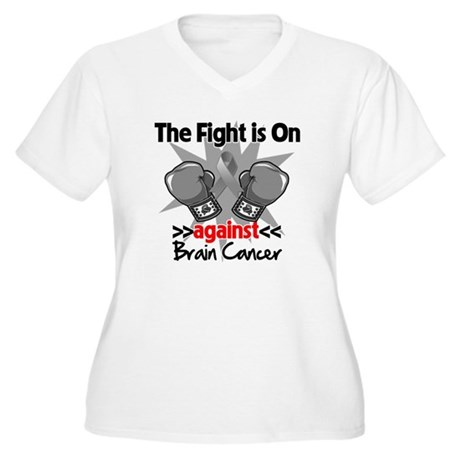 The Fight is on Brain Cancer Women's Plus Size V-N