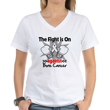 The Fight is On Bone Cancer Women's V-Neck T-Shirt